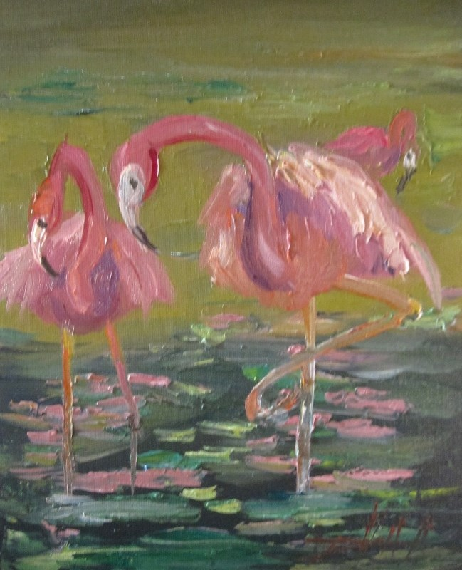 """Pink Flamingos"" original fine art by Delilah Smith"
