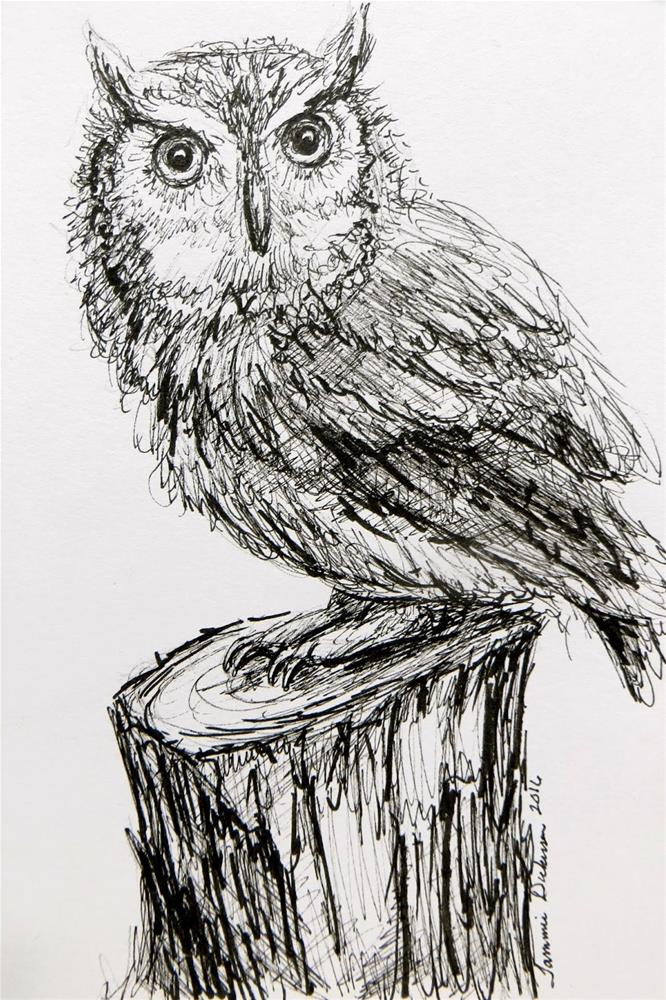 """Screech Owl in Ink"" original fine art by Tammie Dickerson"