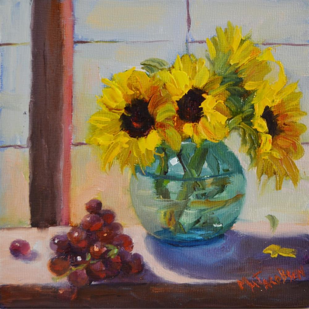 """""""Window Seat, 6x6, oil, 6 inch squared show, grapes, sunflowers, still life"""" original fine art by Maryanne Jacobsen"""