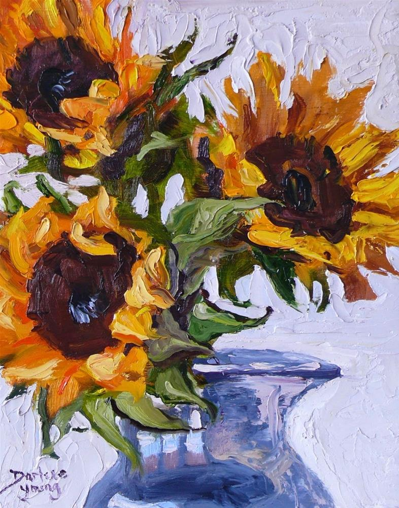 """""""731 Sunflowers Knife Painting"""" original fine art by Darlene Young"""