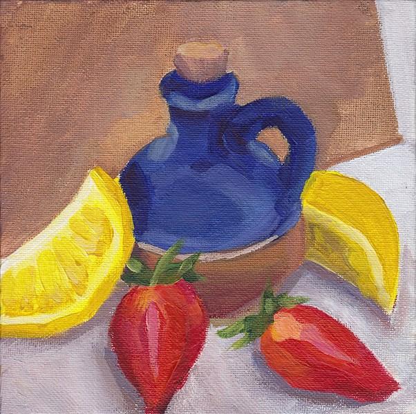 """Small Vase in Primaries"" original fine art by J M Needham"