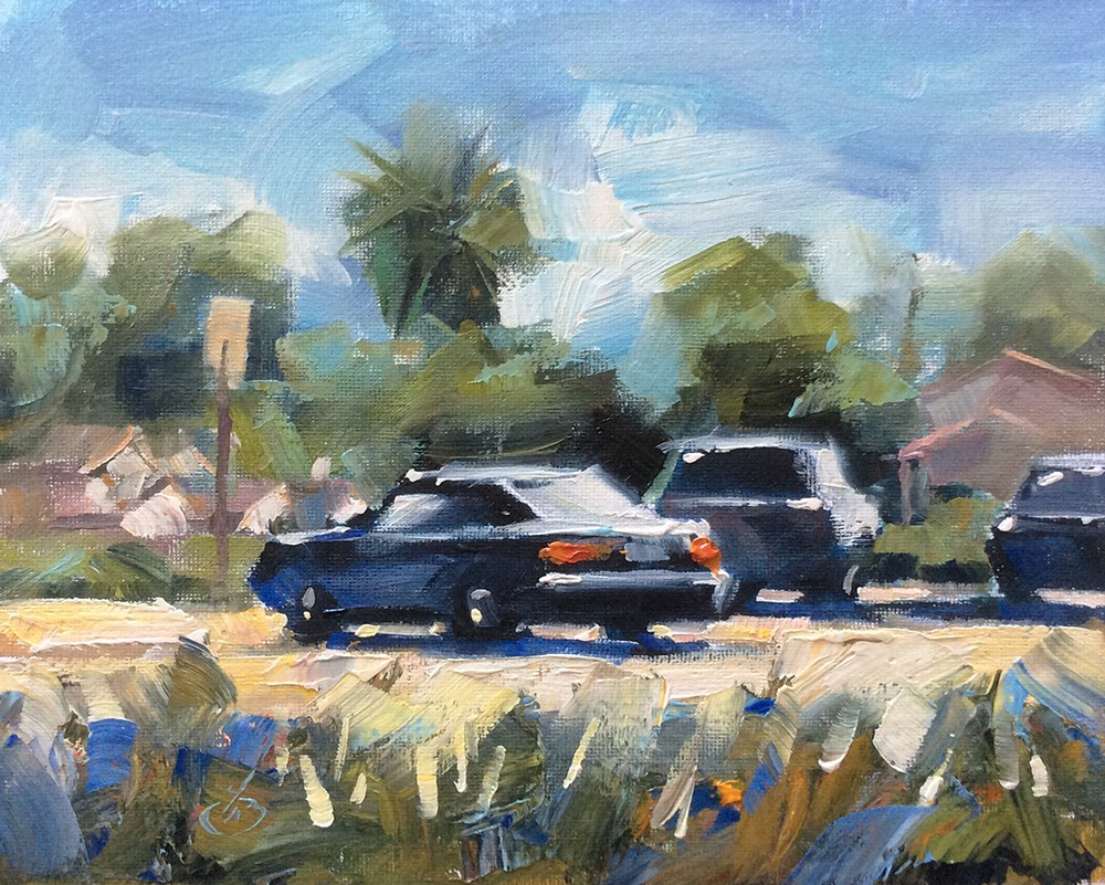 """""""LIBRARY PARKING LOT"""" original fine art by Tom Brown"""