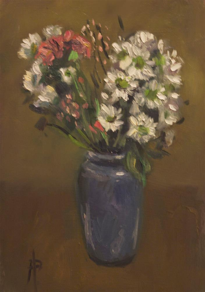 """""""White and Pink Flowers in Blue Vase"""" original fine art by Andre Pallat"""