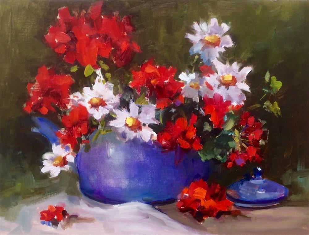 """Daisies and Geraniums"" original fine art by Laurie Johnson Lepkowska"