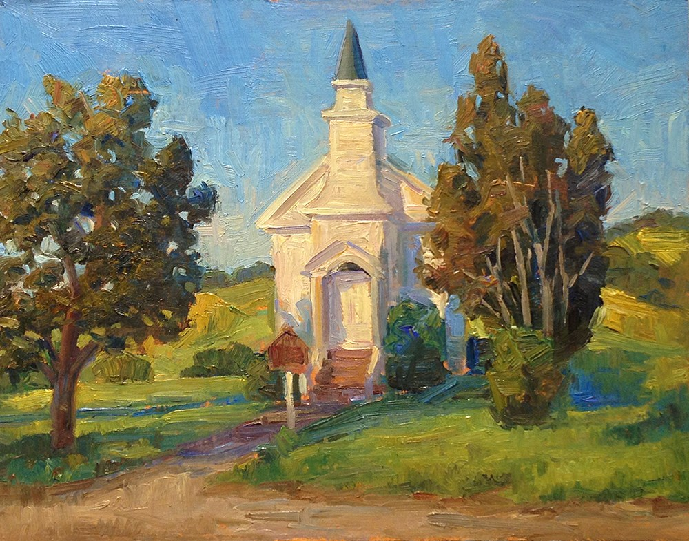"""Nicasio Church"" original fine art by Michael Coy"