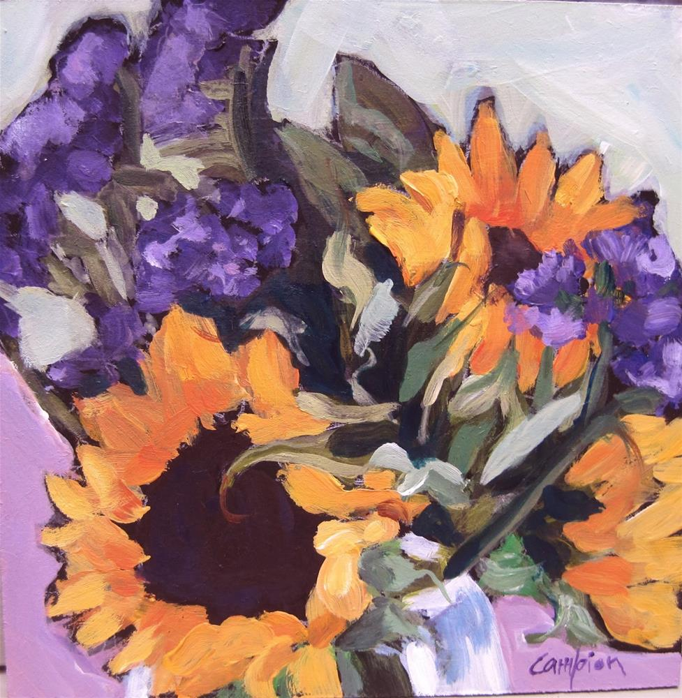 """112. Sunflowers and Statice With  Baffling Background"" original fine art by Diane Campion"
