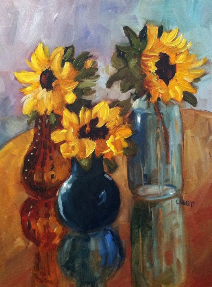 """Marsha's Sunflowers"" original fine art by Libby Anderson"