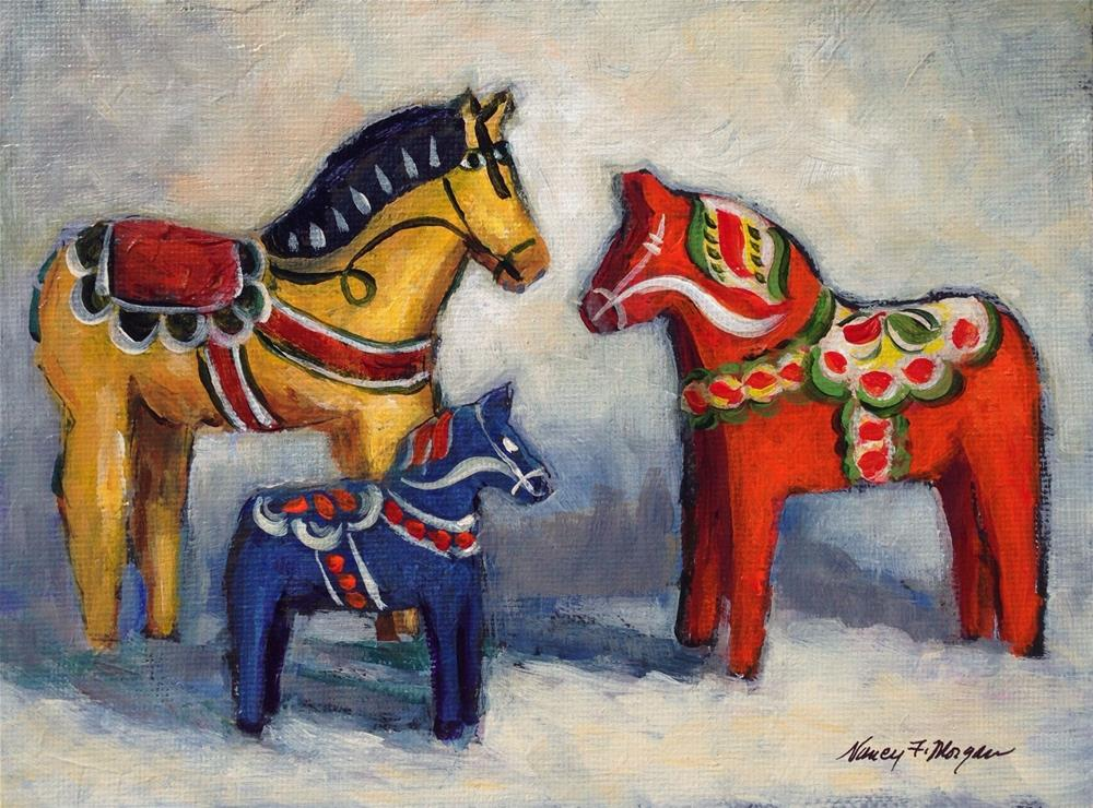"""Three Swedes"" original fine art by Nancy F. Morgan"