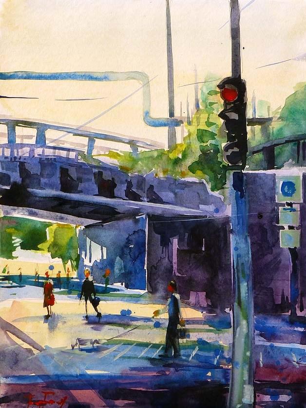 """Eisenbahnbrücke"" original fine art by Jurij Frey"