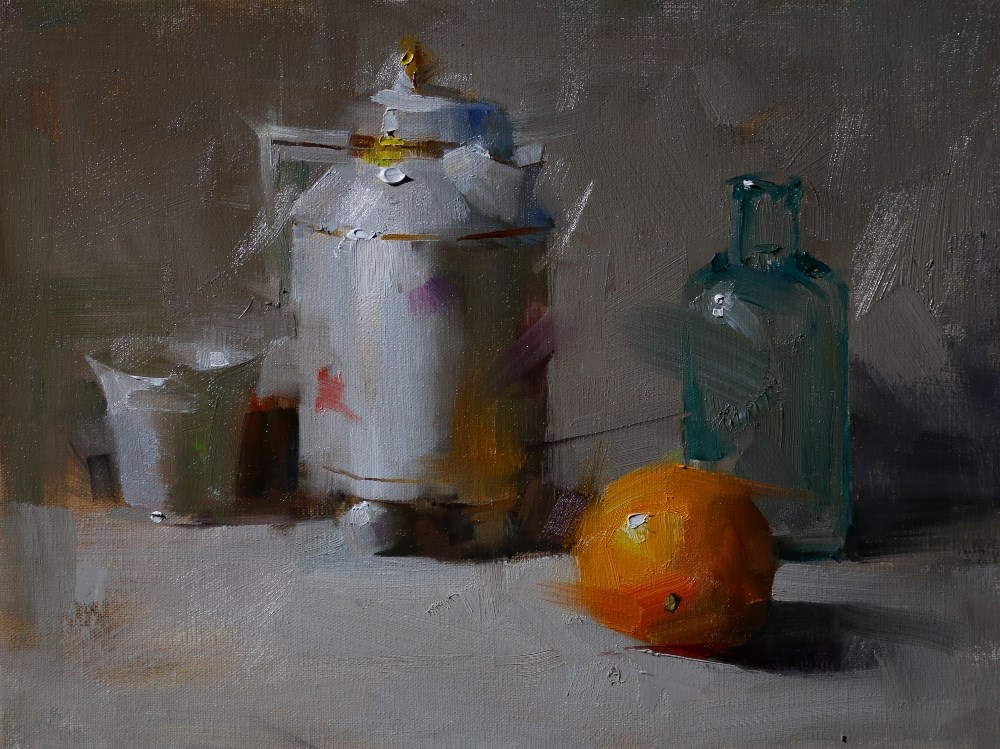 """Still life with four objects"" original fine art by Qiang Huang"