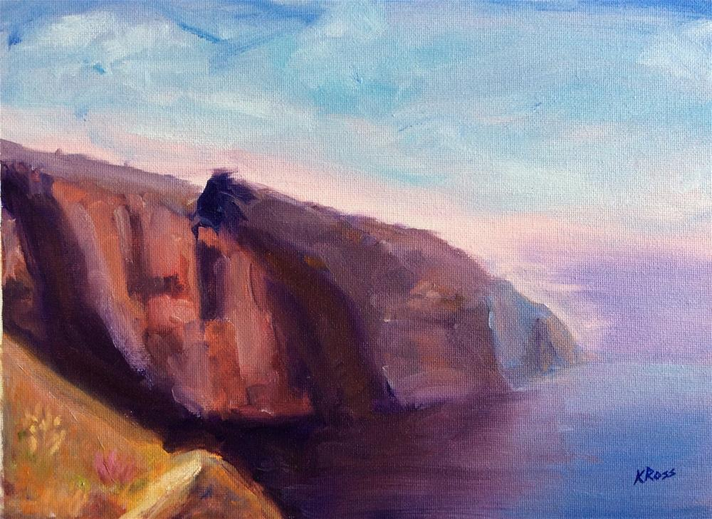 """Cliffs at sunset"" original fine art by Kathryn Ross"