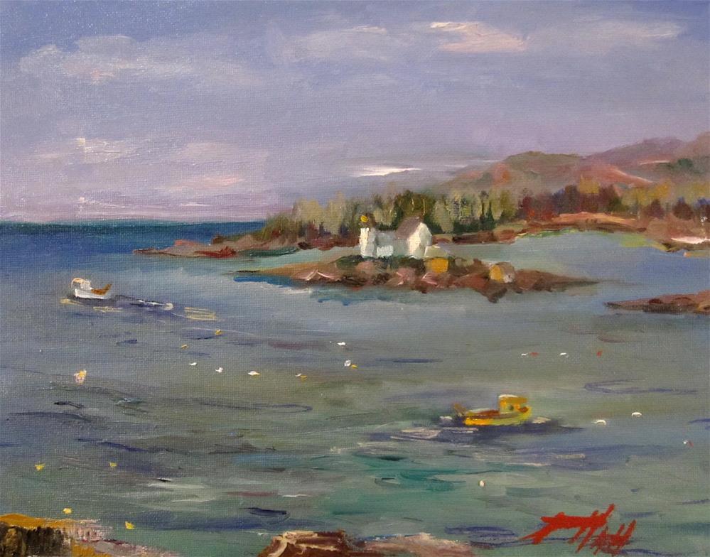 """""""Light House Winter Harbor ME"""" original fine art by Delilah Smith"""