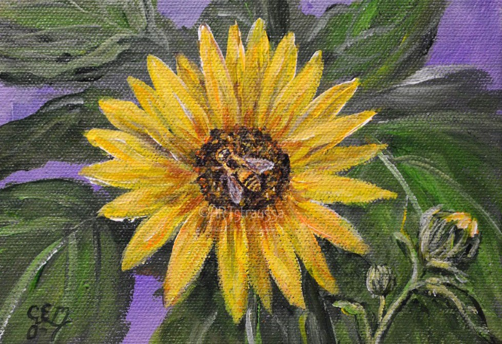 """SALE!!!Buzzing Sunflower"" original fine art by Gloria Ester"