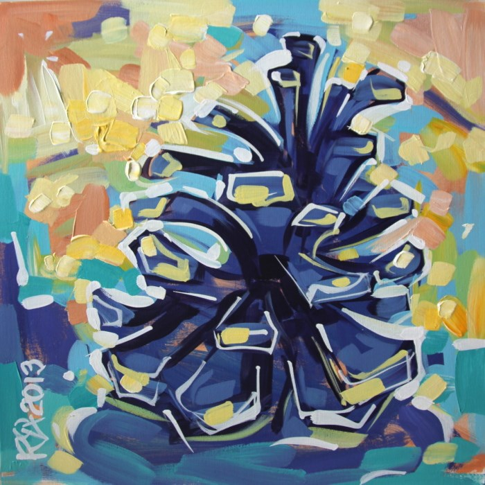 """Pine Cone Abstraction 8"" original fine art by Roger Akesson"