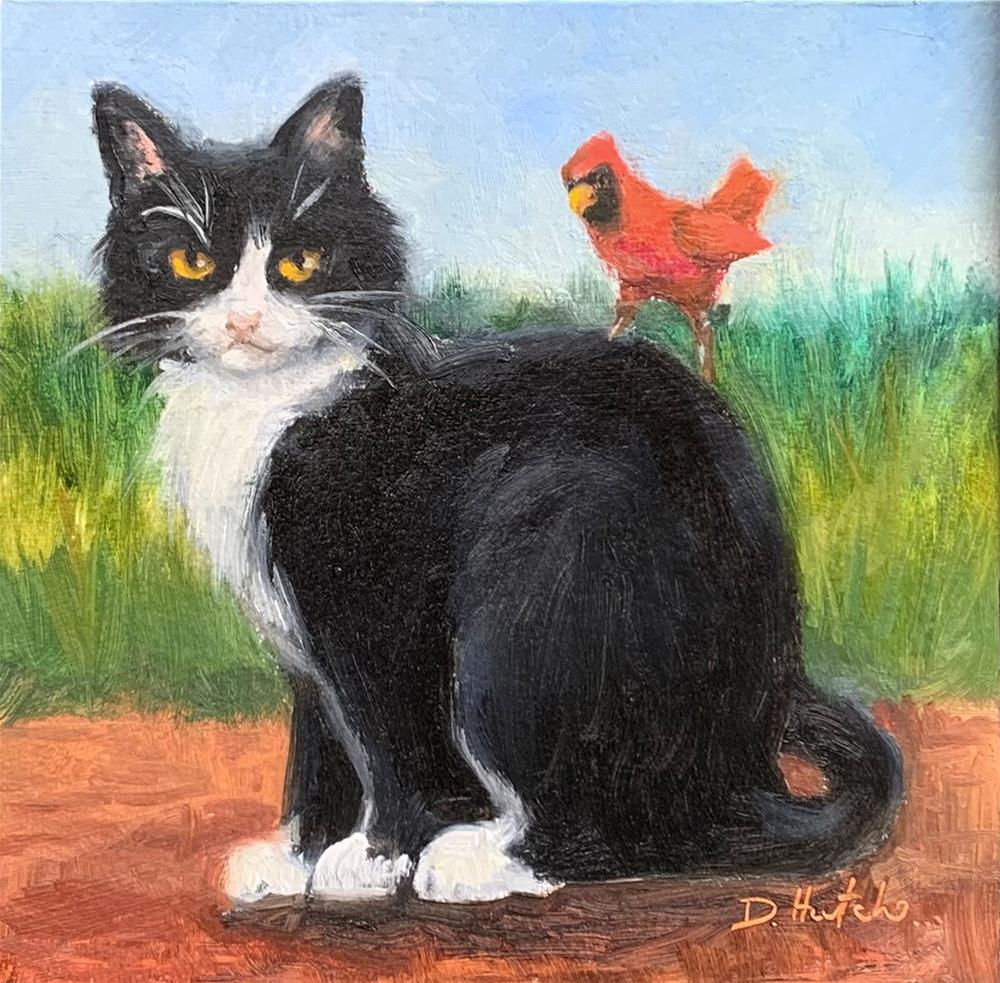 """Cat with Cardinal"" original fine art by Diane Hutchinson"