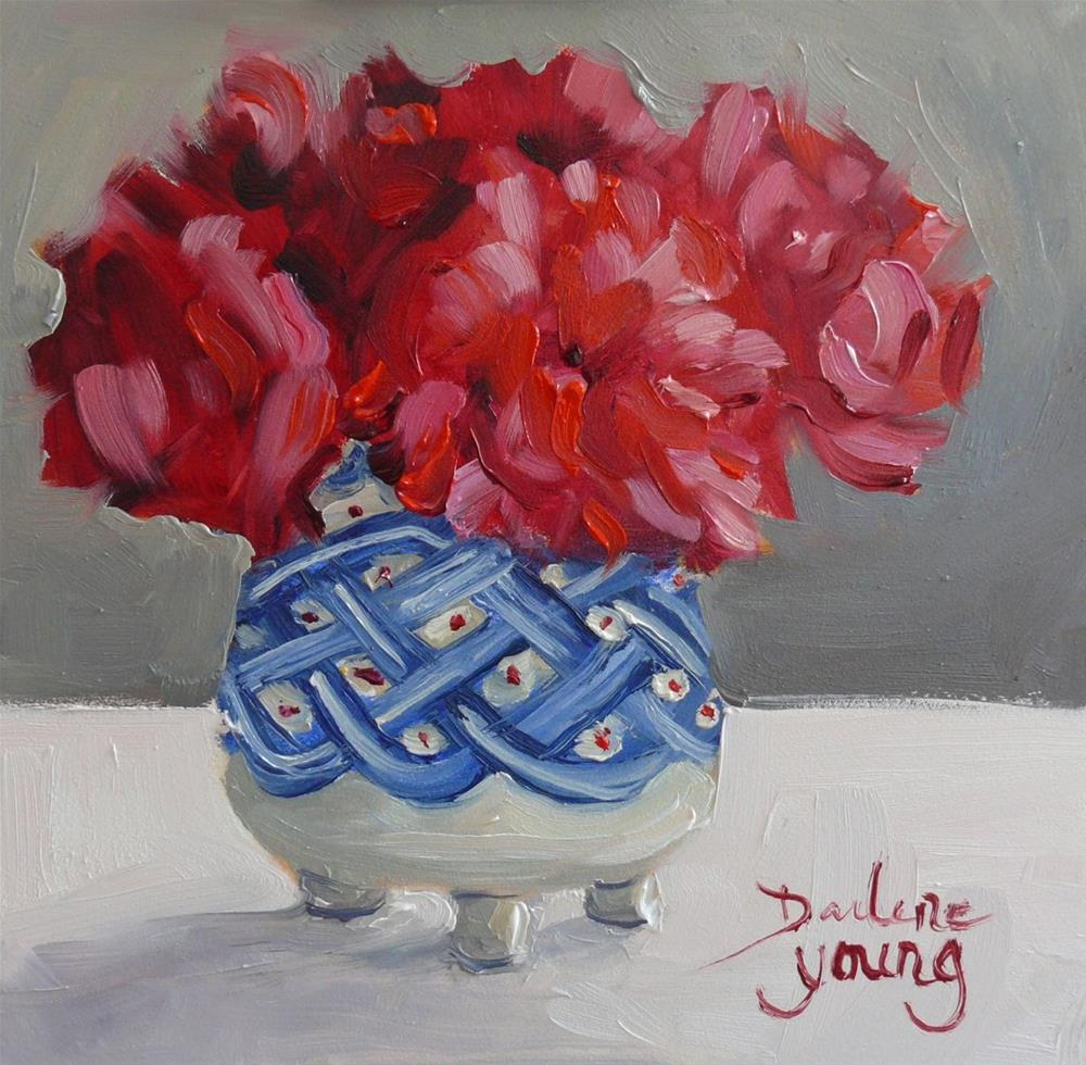 """""""845 Carnations in Robert Amos Pottery, oil on board, 6x6"""" original fine art by Darlene Young"""