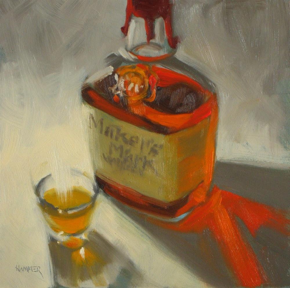 """A little bit of Maker's  6x6 oil"" original fine art by Claudia Hammer"
