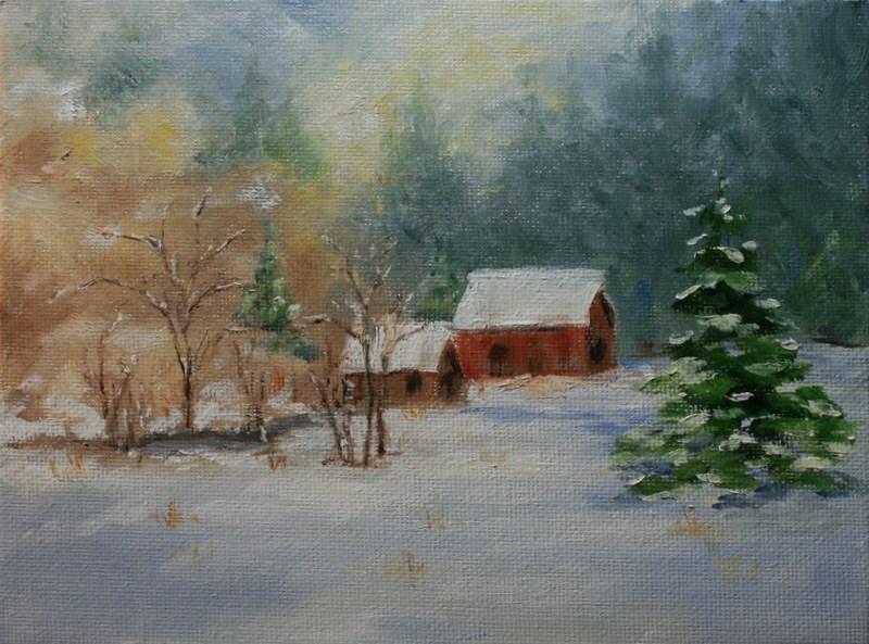 """""""Red Barn in Winter"""" original fine art by Jean Nelson"""