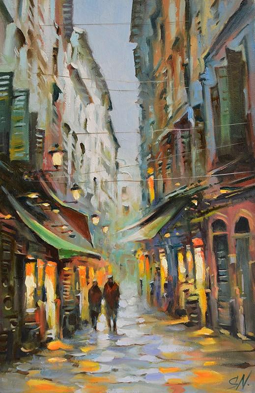 """Rain in old town – Nice, Provence, France, Cityscape street scene"" original fine art by Nick Sarazan"