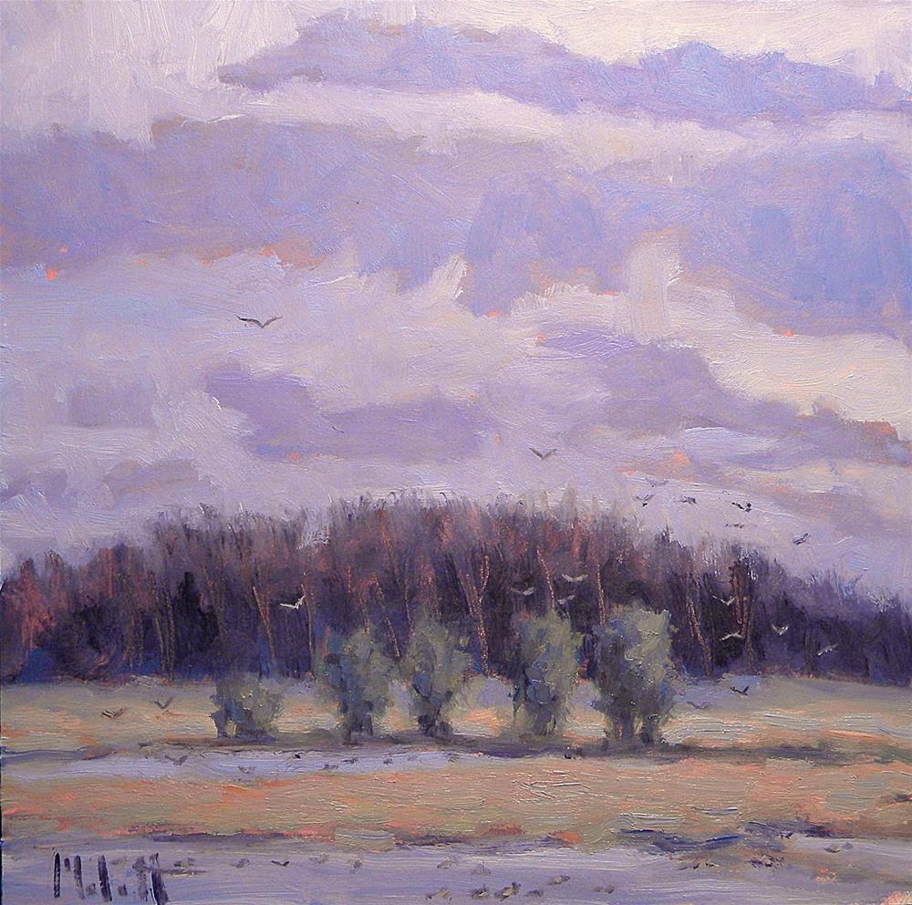 """Eagle Marsh Wetland Nature Preserve at Sunset Dusk Original Oil Painting"" original fine art by Heidi Malott"