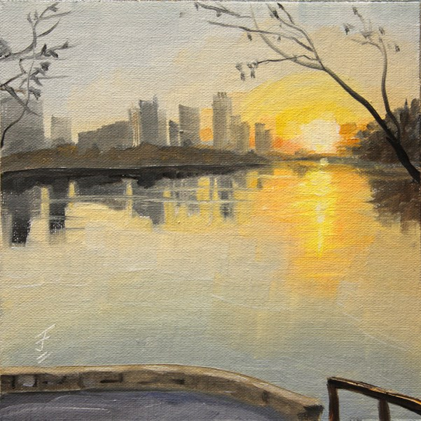 """Sunrise from Lou Neff Point"" original fine art by Jane Frederick"