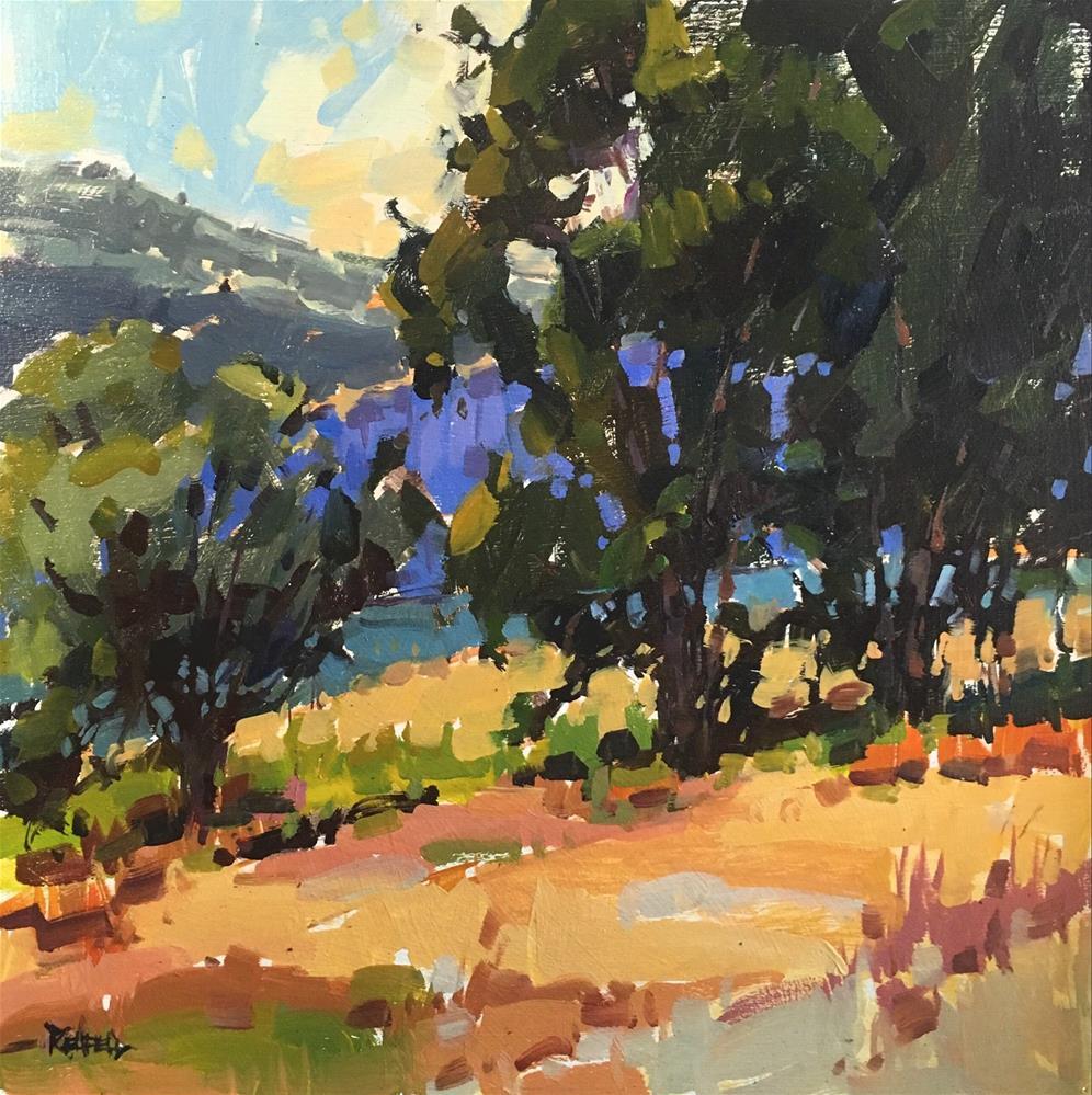 """Oaks Out East 12x12"" original fine art by Cathleen Rehfeld"