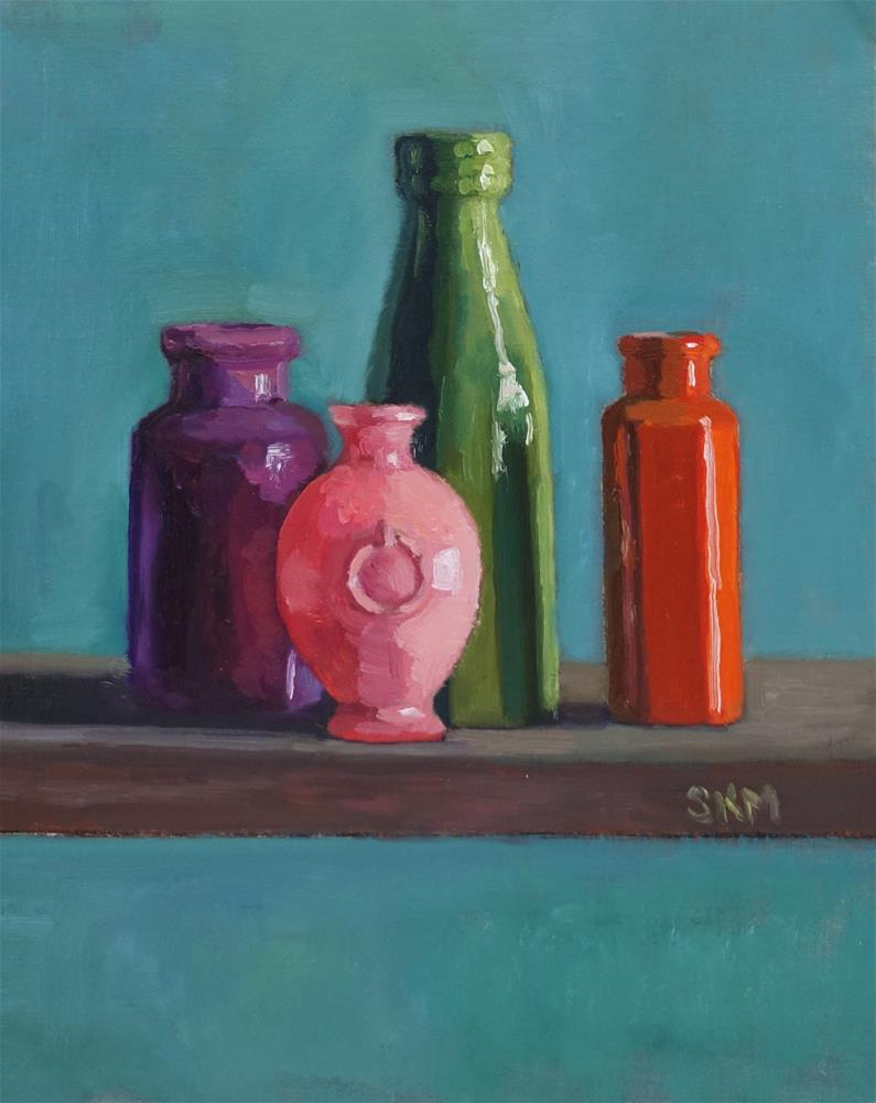 """Bright little vases"" original fine art by Sarah Meredith"
