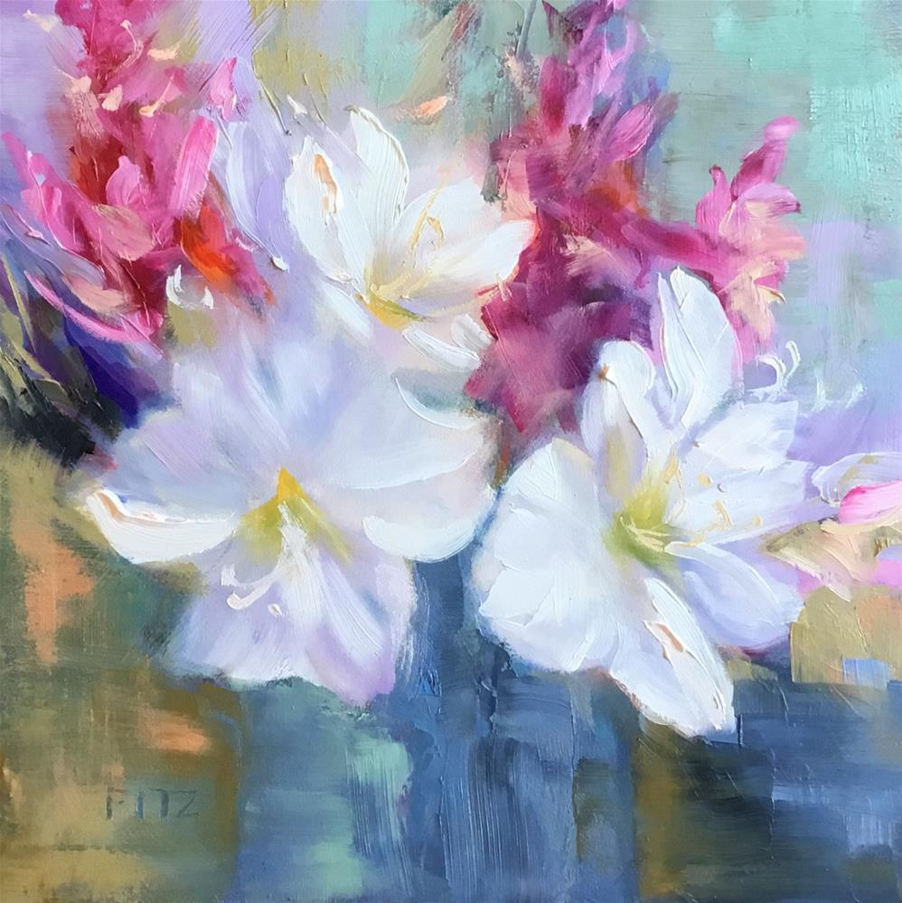 """Azaleas in a Blue Vase"" original fine art by Charlotte Fitzgerald"