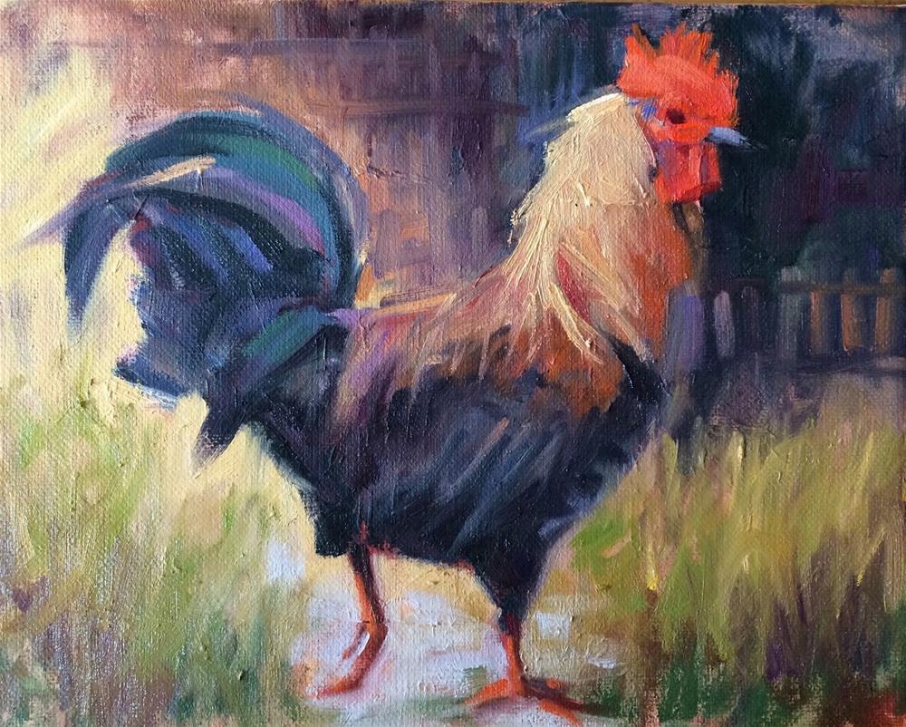 """""""King of the Hen House"""" original fine art by Deborah Newman"""