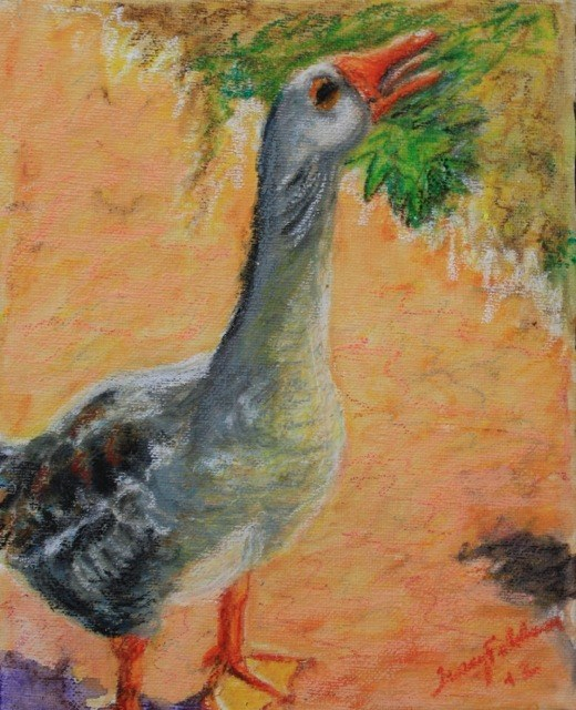 """""""Daily Painting 3 -- Loneliness of a Whiny Goose"""" original fine art by Tracy Feldman"""