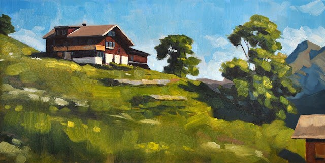 """Gimmelwald - 8x16"" original fine art by Sharon Schock"