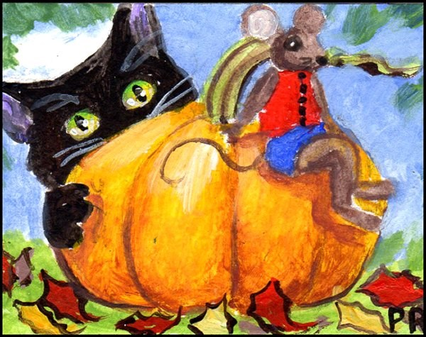"""NFAC Halloween Cat Sneaks up on Mouse"" original fine art by Patricia Ann Rizzo"
