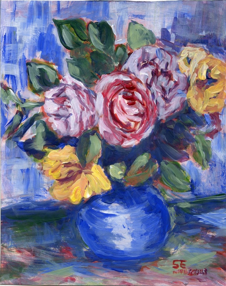"""Roses In A Vase"" original fine art by Stanley Epperson"