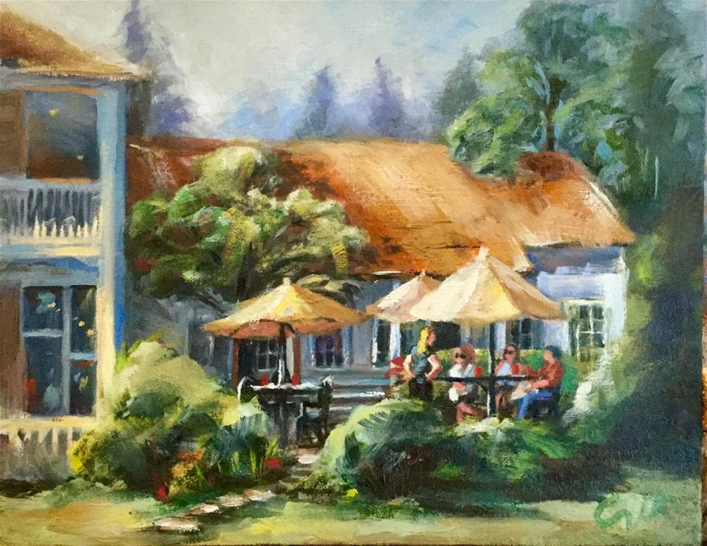 """""""The Courtyard at the Grant House, Officer's Row, Vancouver OR"""" original fine art by Sharon Abbott-Furze"""