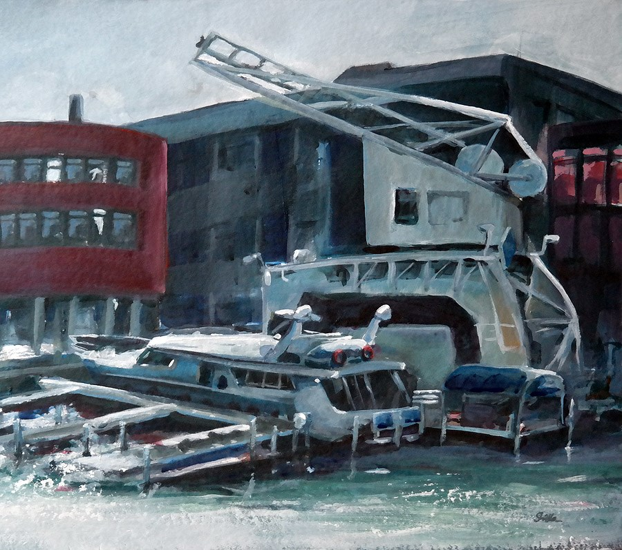"""1116 Backlighted Harbor"" original fine art by Dietmar Stiller"
