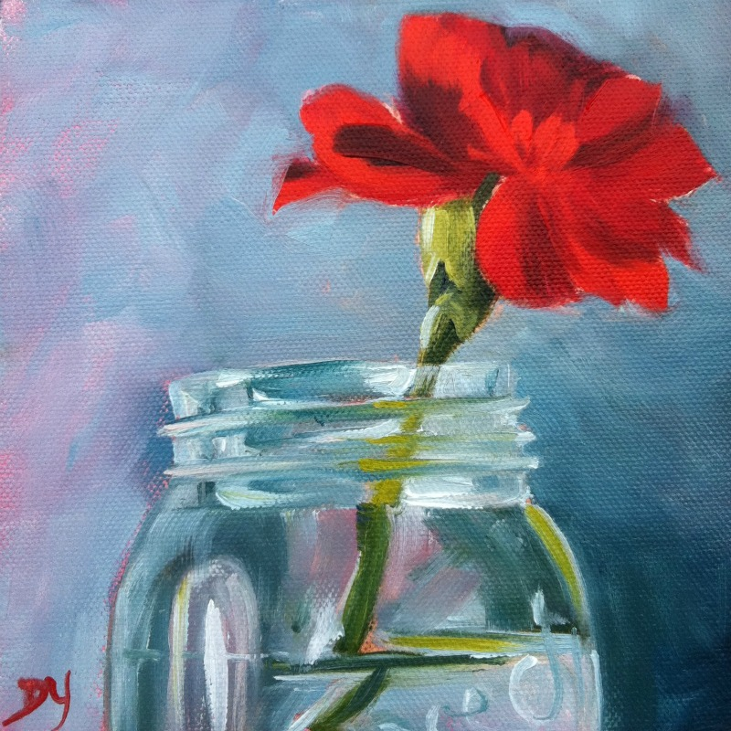 """""""Red Carnation, oil on canvas board, 6x6"""" original fine art by Darlene Young"""