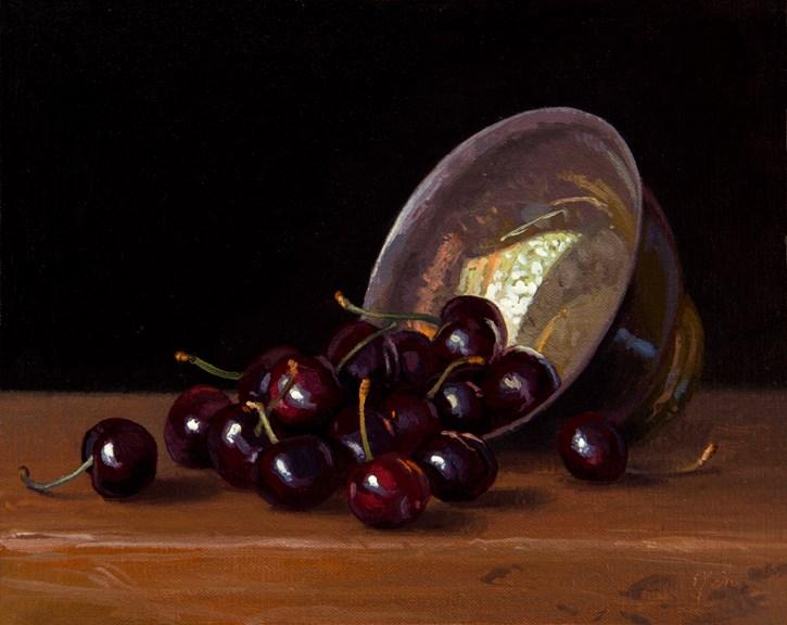 """Cherries and Silver Bowl, 8x10"" original fine art by Abbey Ryan"