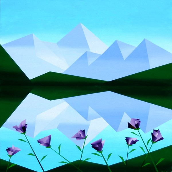 """""""Mark Adam Webster - Abstract Geometric Mountain Lake with Purple Flowers Acrylic Painting"""" original fine art by Mark Webster"""