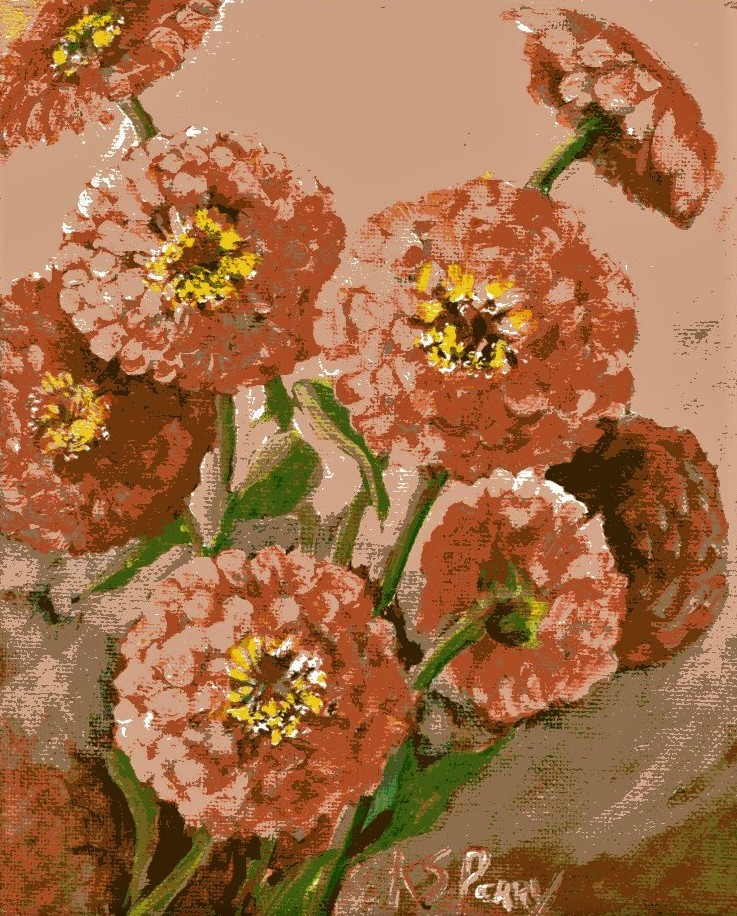"""zinnia Joy"" original fine art by R. S. Perry"