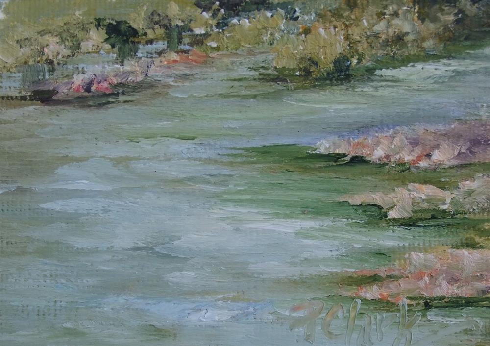 """""""Gentle Flowing Waters II, 2.5 x 3.5 Oil, Landscape"""" original fine art by Donna Pierce-Clark"""