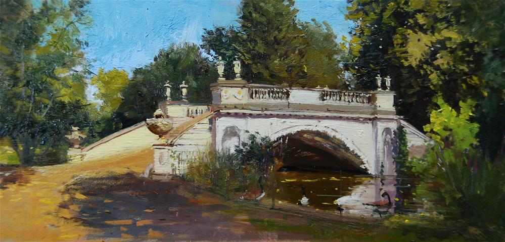 """Summer light Classic Bridge, Chiswick"" original fine art by Adebanji Alade"