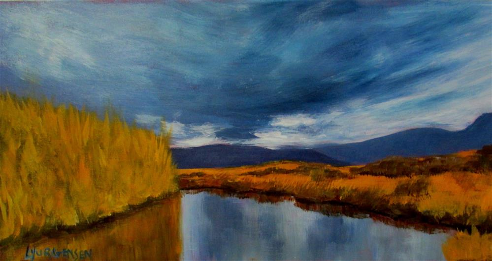 """7.50 x 16 inch acrylic Peaceful River"" original fine art by Linda Yurgensen"