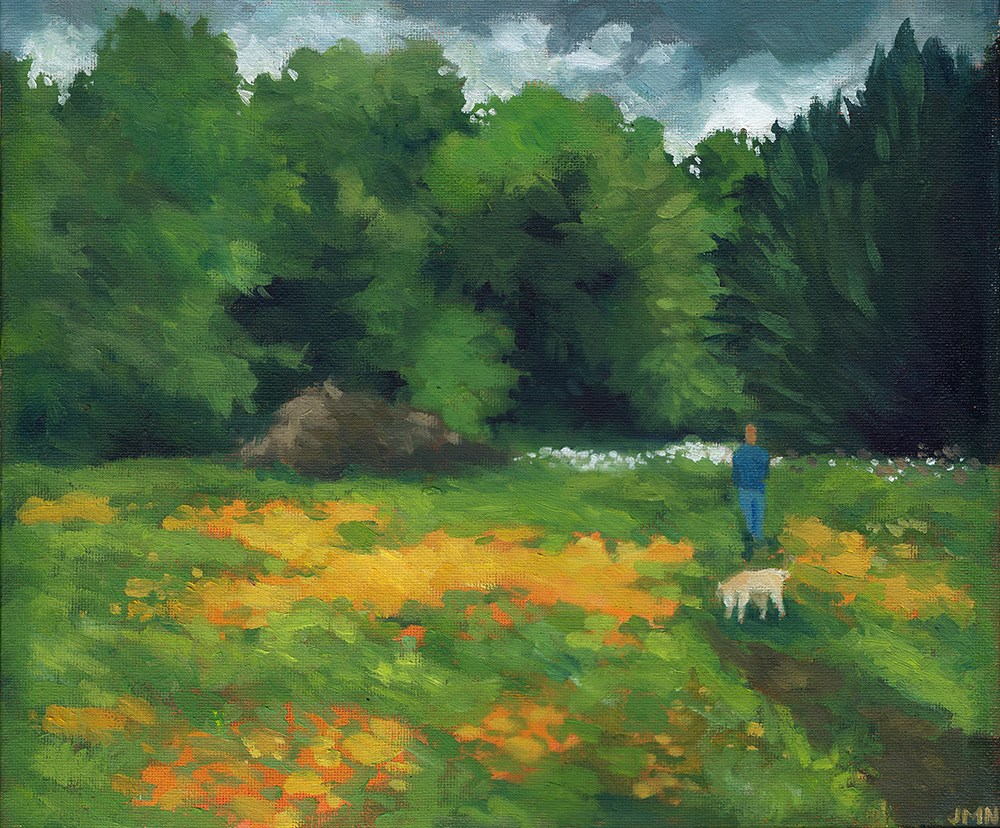 """""""Dog Walking in the Meadow"""" original fine art by J M Needham"""