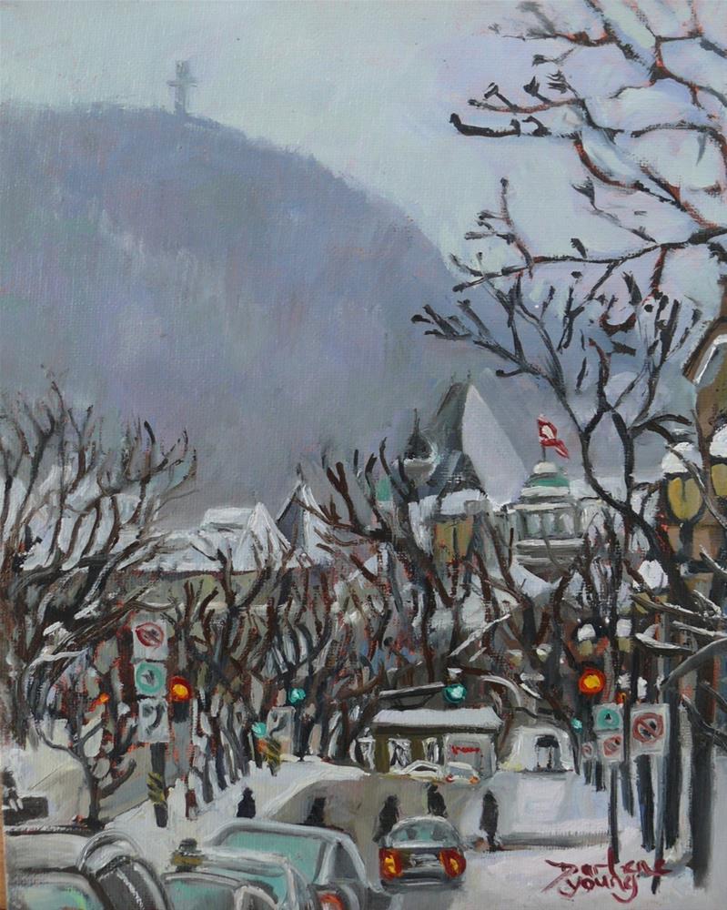 """""""1042 McGill University Winter Scene, 8x10 Oil on board"""" original fine art by Darlene Young"""