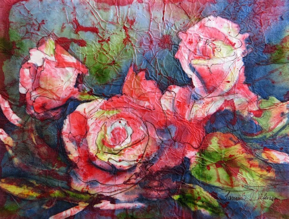 """Pink Rose Melange"" original fine art by Tammie Dickerson"