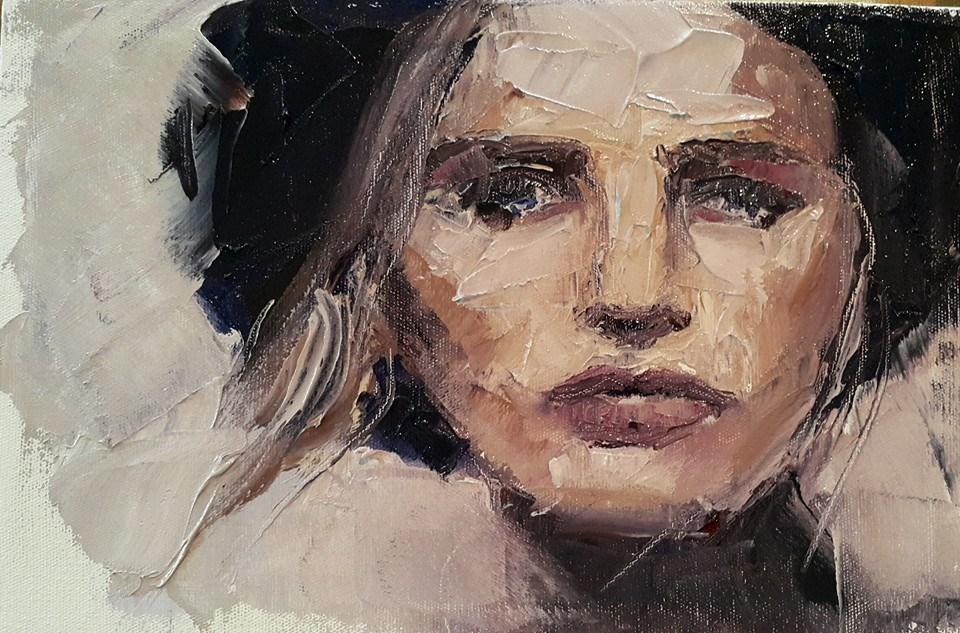 """Palette knife portrait 2"" original fine art by Rentia Coetzee"