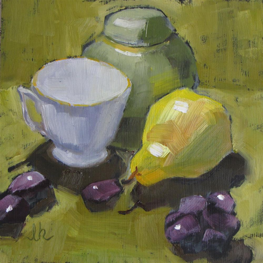 """""""Ginger Tea and Pear"""" original fine art by Louise Kubista"""