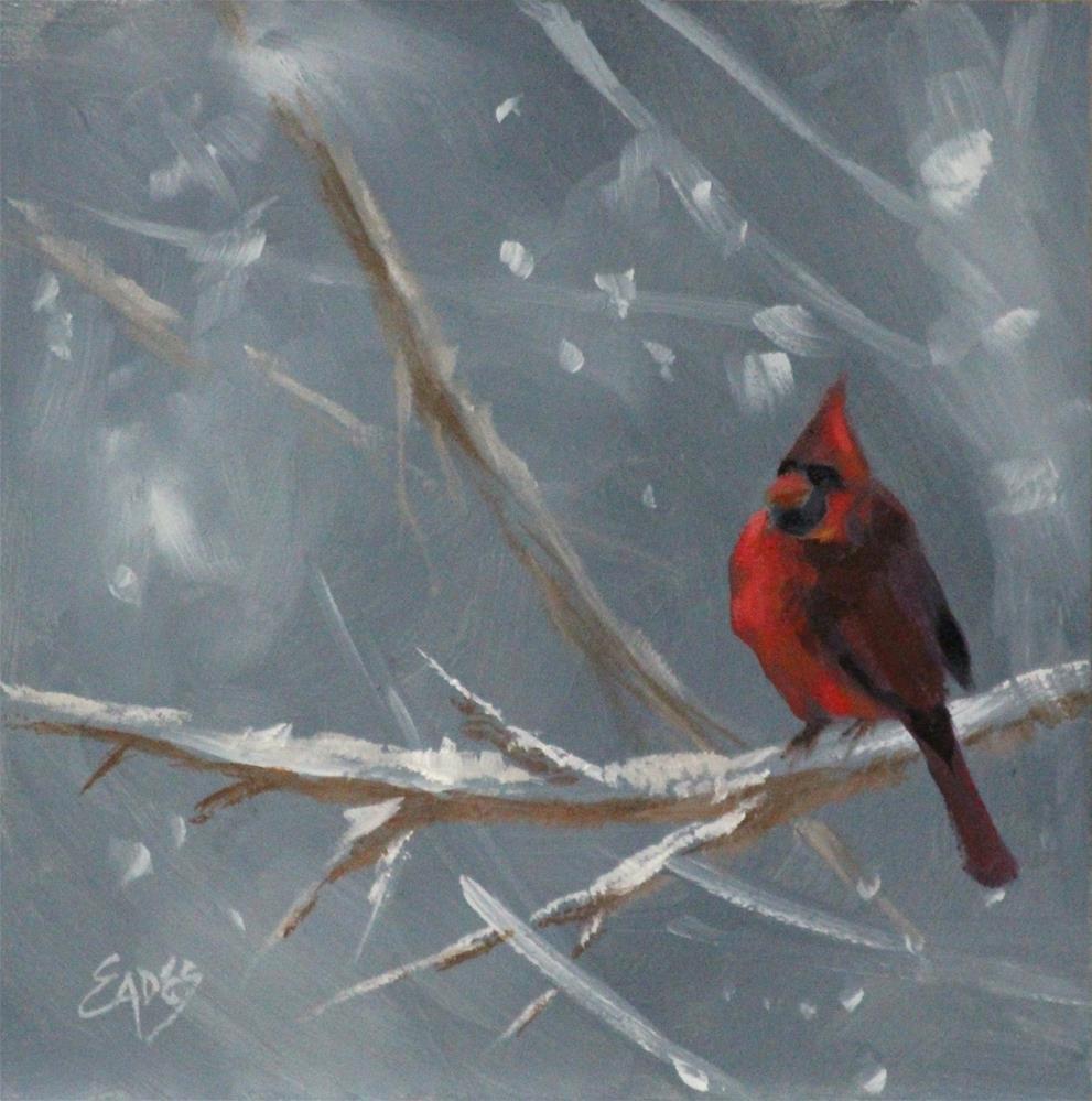 """Lone Cardinal"" original fine art by Linda Eades Blackburn"
