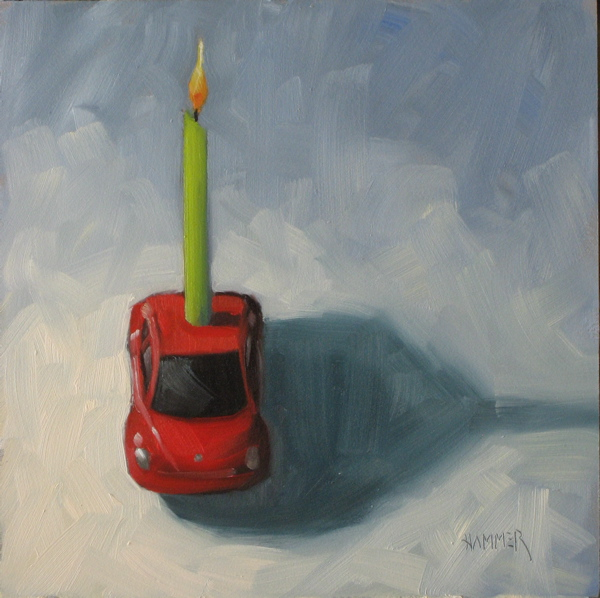 """Happy Birthday! 6x6 oil"" original fine art by Claudia Hammer"