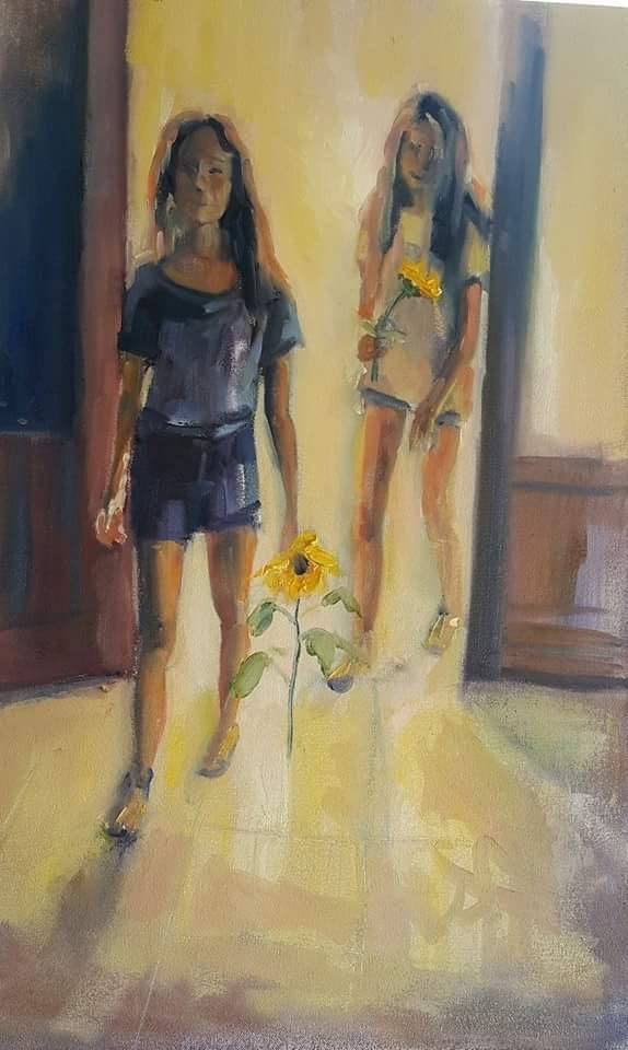 """Sunflowers for Mama"" original fine art by Rentia Coetzee"